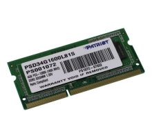 Оперативная память SO-DIMM DDR3 4Гб Patriot Signature (PSD34G1600L81S)