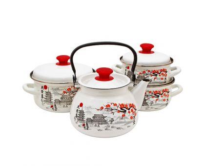 Набор посуды эмалированной КМЗ Ветка сакуры