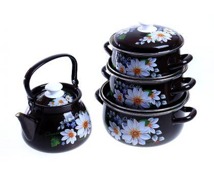 Набор посуды эмалированной КМЗ Белые георгины