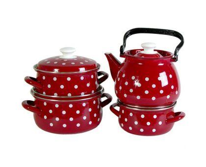 Набор посуды эмалированной КМЗ Моника-3С Красный