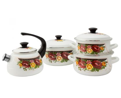 Набор посуды эмалированной КМЗ Розы