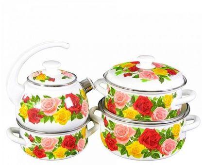 Набор посуды эмалированной КМЗ Розовый рай-С
